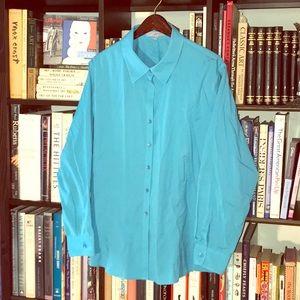 NWOT Nordstrom's Foxcroft Aqua Shirt 22W